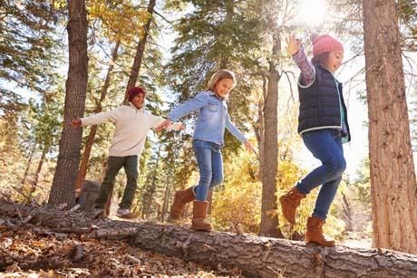 Kinder balancieren im Wald auf Baumstamm schulreif im Waldkindergarten