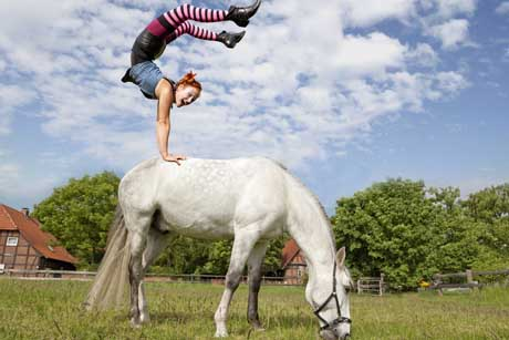 Pferd mit Pippi Langstrumpf