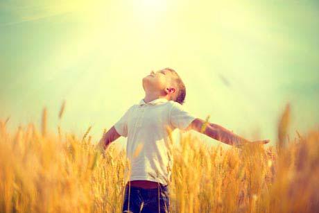 Kindheit in Freiheit gegen Helikopter Little boy on a wheat field in the sunlight enjoying nature