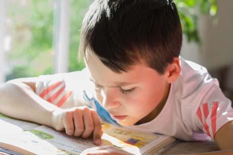 Junge liest ein Buch - Motivation im Homeschooling
